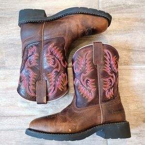 Ariat Steel Toe Brown Boots Pink Stitching Size 7B